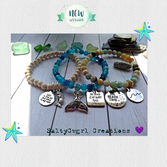 SaltyCwgrl Creations 💜 Jewelry - Mixed Gemstone Stretch Charm Bracelets